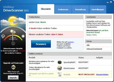 Uniblue DriverScanner-Benutzeroberfläche