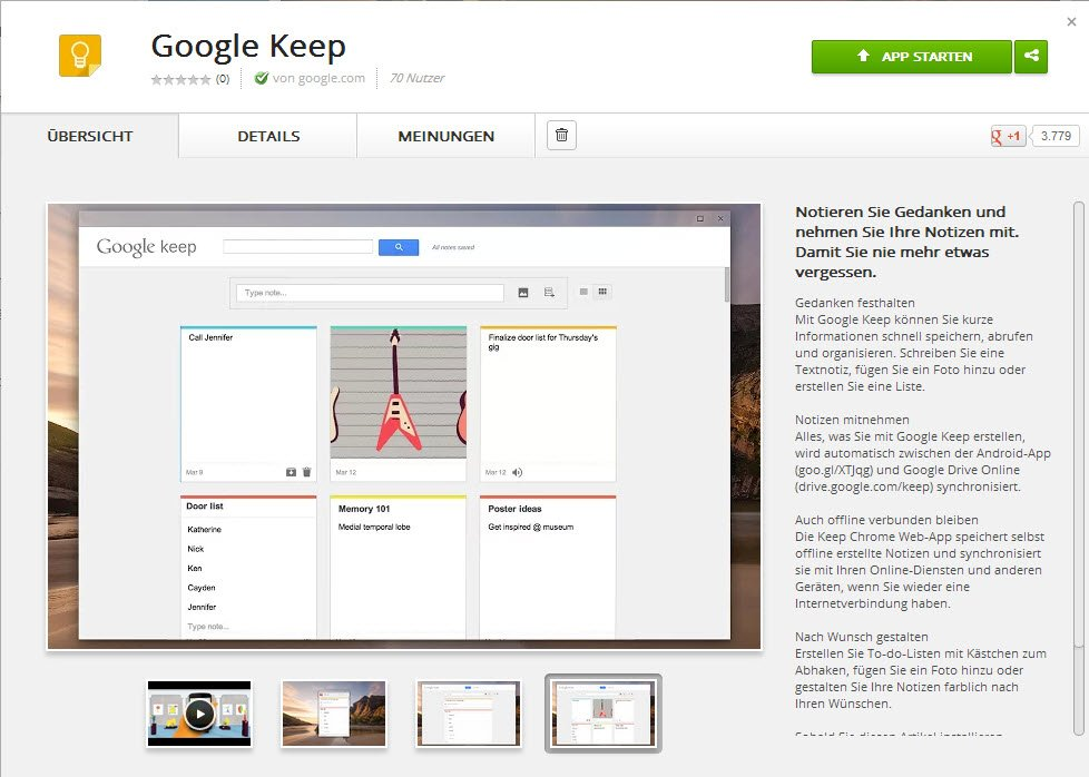 Google Keep Chrome App