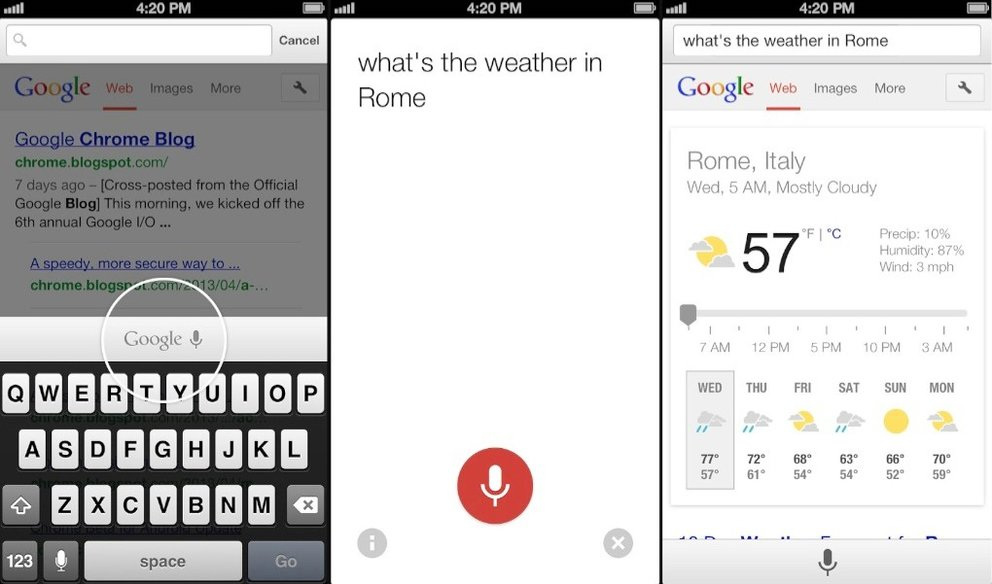 Chrome für iOS - neue Sprachsuche