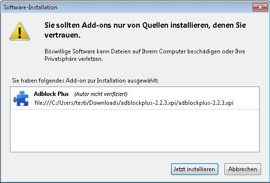 Firefox Add-ons manuell installieren Bestaetigung