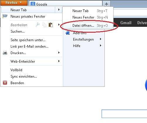 Firefox Add-ons manuell installieren Dateibrowser