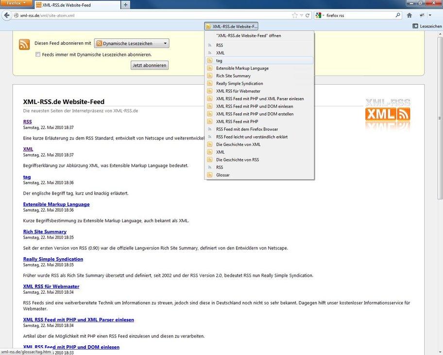Firefox RSS Screenshot