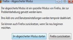 Den Firefox im abgesicherten Modus benutzen
