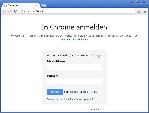 Google Chrome Konto