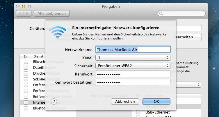 Internetfreigabe-WLAN