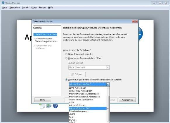 OpenOffice Access Datenbank einbinden