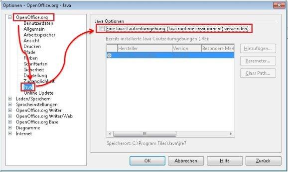 OpenOffice Java deaktivieren