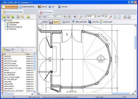 PDF to DXF JPG TIF Programmfenster