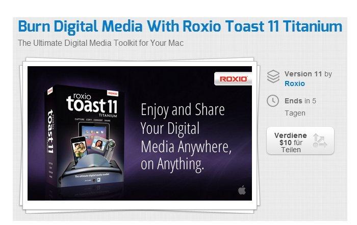Roxio Toast 11 Titanium für 38,33 Euro
