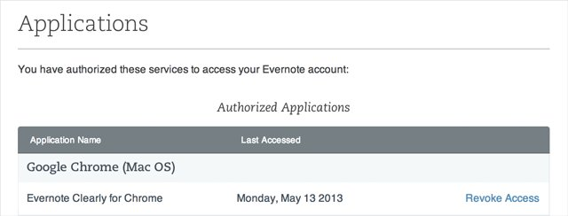 Evernote - Autorisierte Applikationen