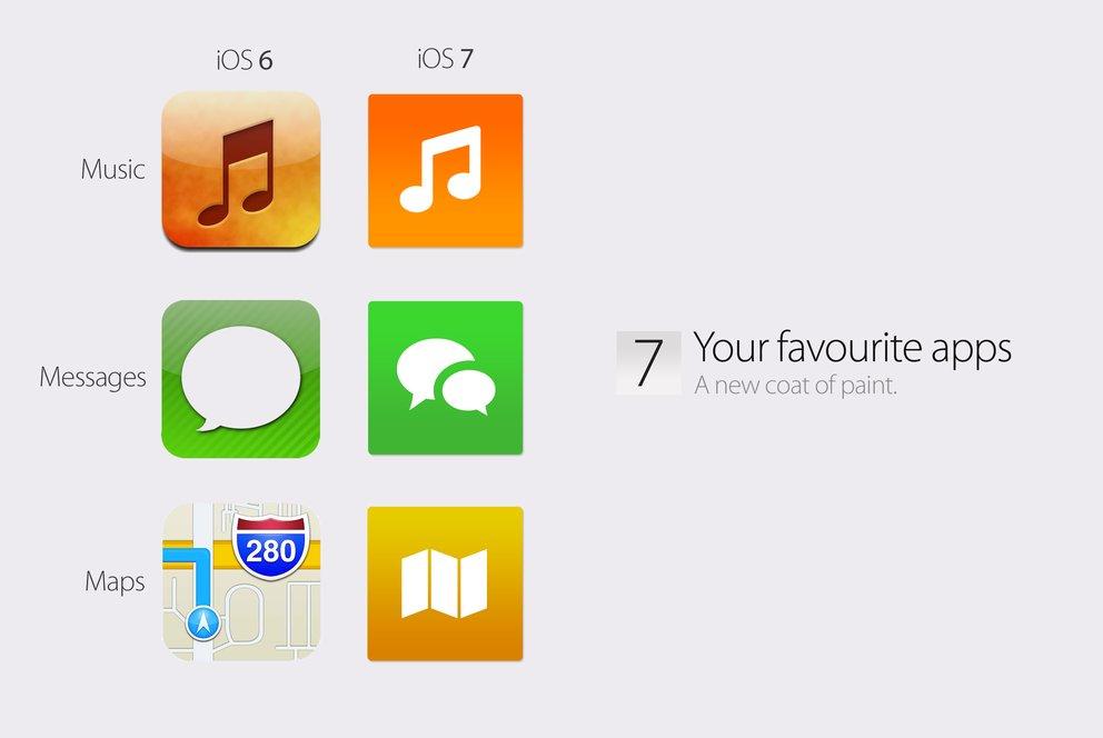 iOS 7 Konzept: App-Icons im Vergleich - alt und neu