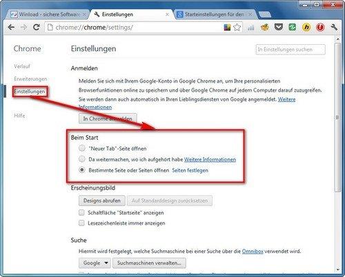 Google Chrome Startaktion festlegen