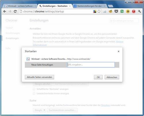 Google Chrome Startseite hinzufügen