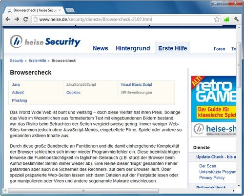 Chrome Test Heise Browsercheck