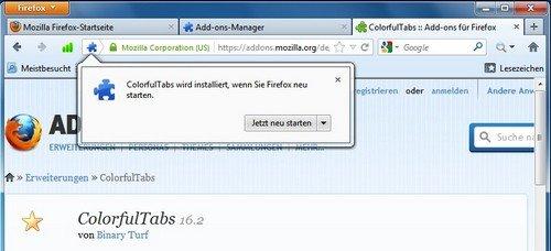 Firefox Add-on Neustart