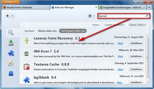 Firefox Add-on Manager Suche
