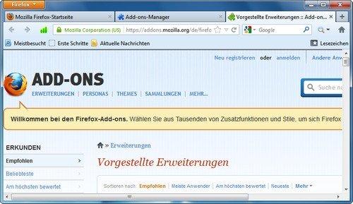 Firefox Add-on Webseite