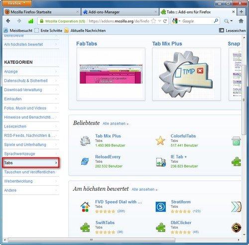 Firefox Add-ons Kategorien