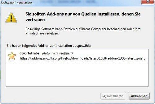 Firefox Add-on vertrauenswürdig