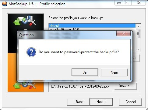 MozBackup Passwort
