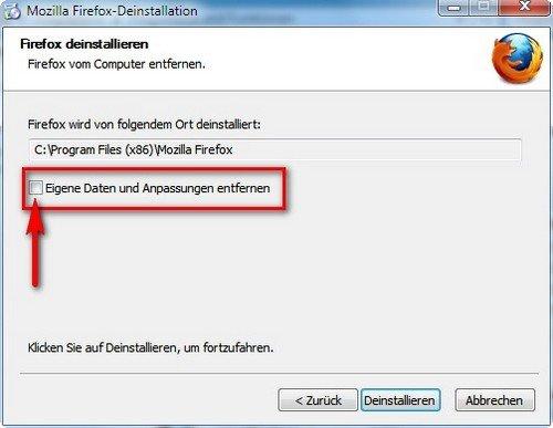 Mozilla Firefox deinstallieren löschen
