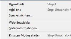 So finden Sie das Firefox Extras Menü