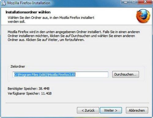 Firefox installieren Installationsordner wählen