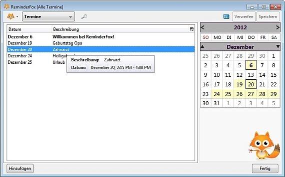 Firefox Kalender