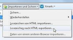 Firefox-Lesezeichen automatisch wieder als bookmarks.html speichern