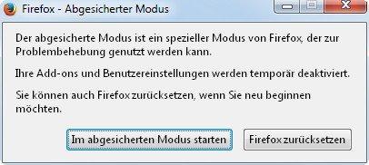 Firefox zurücksetzen mit einem Klick - nach dem Start im Safe-Mode