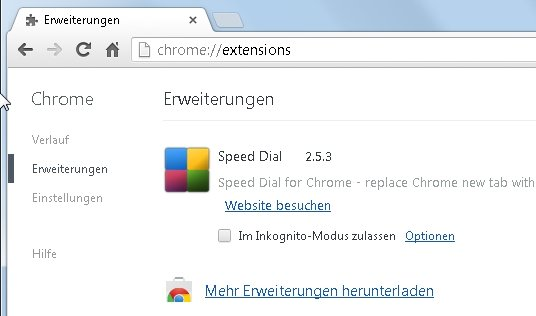 Google Chrome config Befehl extensions Screenshot