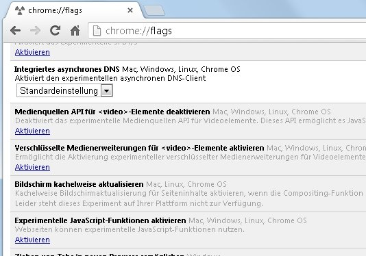 Google Chrome Config Befehl Flags Screenshot