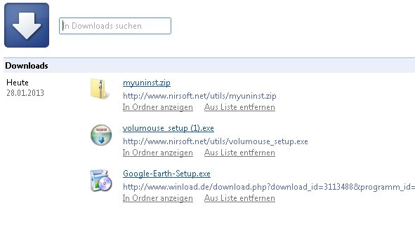 Google Chrome Download Manager Screenshot