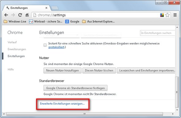 Google Chrome erweiterte Einstellungen Screenshot