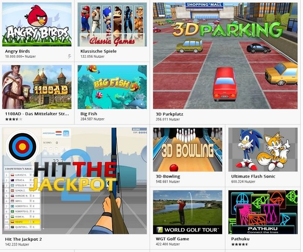 Google Chrome Games Webstore Screenshot