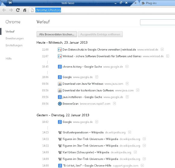 Google Chrome History Screenshot