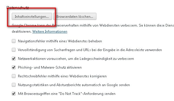 Google Chrome Inhaltseinstellungen Screesnhot