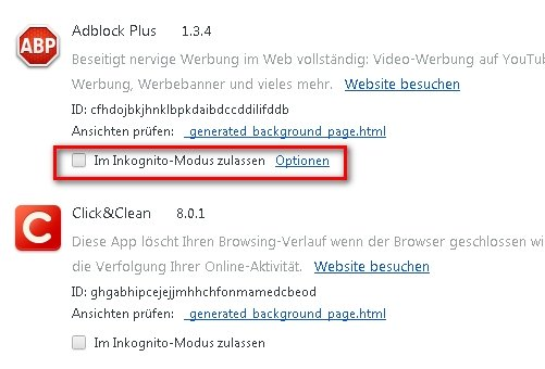 Google Chrome Erweiterungen Inkognito Screenshot