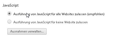 Google Chrome Javascript deaktivieren Screenshot