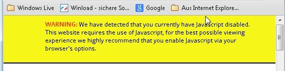Google Chrome Javascript deaktiviert Screenshot