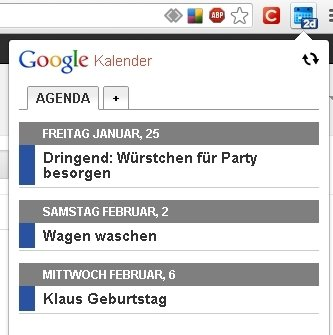 Google Chrome Kalender Screenshot