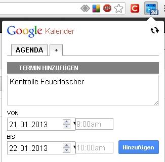 Google Chrome Kalender