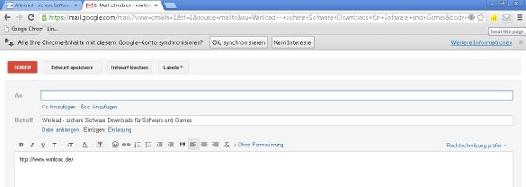 Google Chrome Link senden Screenshot