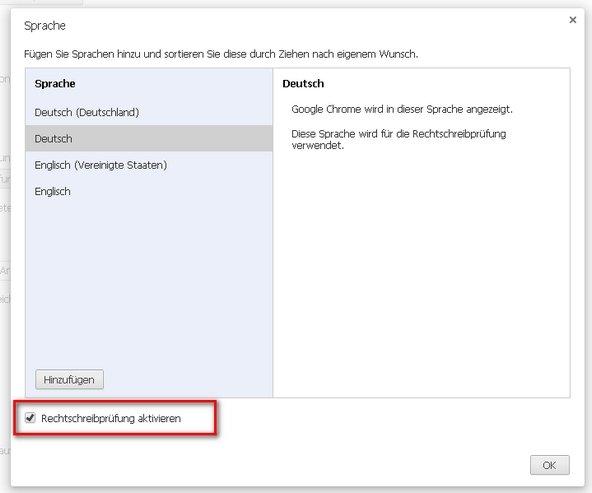 Google Chrome Rechtschreibprüfung aktiviert Screenshot