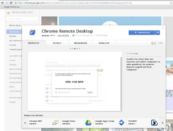 Google Chrome Remote Screenshot