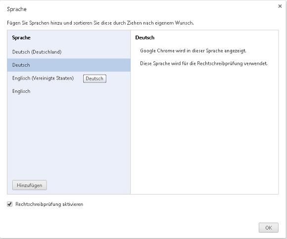 Chrome Sprache ändern