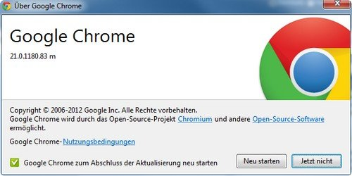Google Chrome Update abgeschlossen