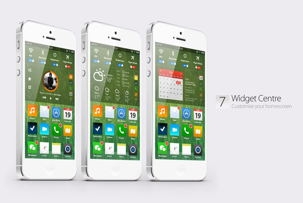 iOS 7 Konzept: Homescreen