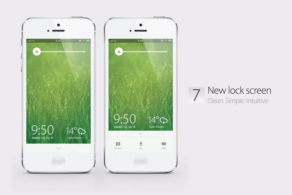 iOS 7 Konzept: Neuer Sperrbildschirm