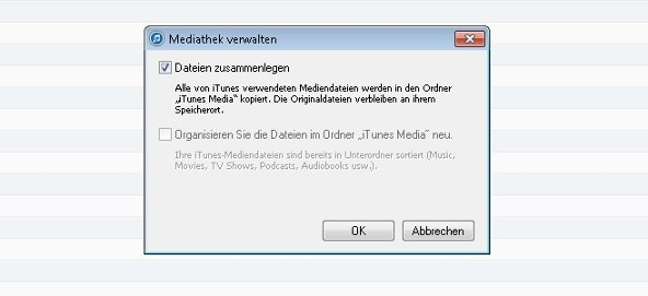iTunes Bibliothek zusammenlegen Screenshot
